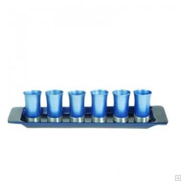 תמונה של סט קידוש מאלומיניום - 6 כוסות + מגש (כחול) - יאיר עמנואל