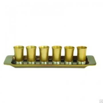 תמונה של סט קידוש מאלומיניום - 6 כוסות + מגש (זהב) - יאיר עמנואל