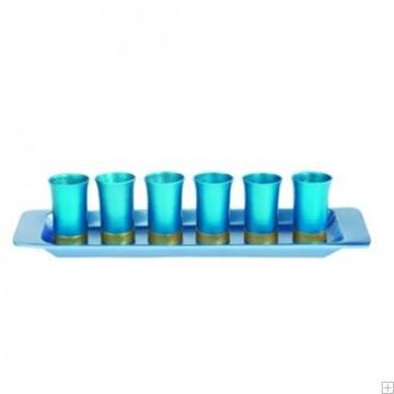 תמונה של סט קידוש מאלומיניום - 6 כוסות + מגש (טורקיז) - יאיר עמנואל
