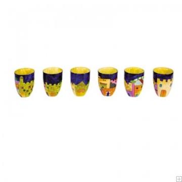 """תמונה של שישה גביעי קידוש קטנים מעץ """"ירושלים העתיקה"""" - יאיר עמנואל"""