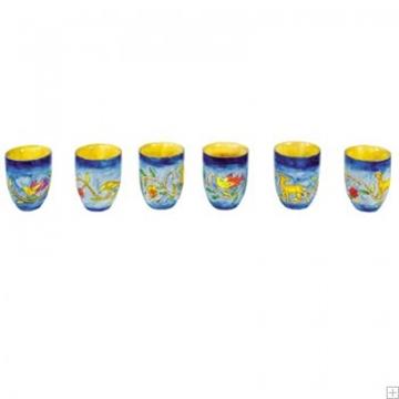 """תמונה של שישה גביעי קידוש קטנים מעץ """"אוריינטלי"""" - יאיר עמנואל"""