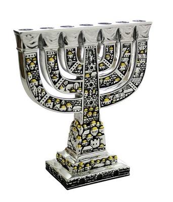 """תמונה של מנורה ממתכת מצופה כסף """"ירושלים העתיקה"""""""
