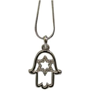 """תמונה של תליון מרודיום """"מגן דוד"""" בתוך חמסה משובץ אבנים + שרשרת"""