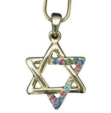 """תמונה של תליון מרודיום """"מגן דוד"""" זהוב משובץ אבנים + שרשרת"""