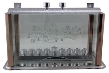 תמונה של תיבה לחנוכיה מאלומיניום עם סגירה מזכוכית