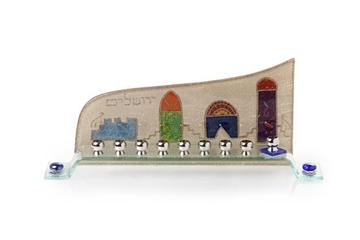 """תמונה של חנוכיה מזכוכית גל """"ירושלים העתיקה"""" - לילי אומנות"""