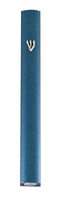 תמונה של בית מזוזה מאלומיניום עם נקודות (כחול)