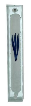 """תמונה של בית מזוזה מזכוכית מראה עם ציור """"ש"""" (כחול)"""