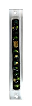 תמונה של בית מזוזה מזכוכית בעבודת יד צבע שחור עם נקודות זהב-ירוק