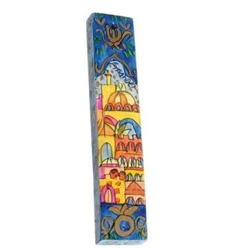 """תמונה של בית מזוזה מעץ """"ירושלים פנורמה"""" (כחול) - יאיר עמנואל"""