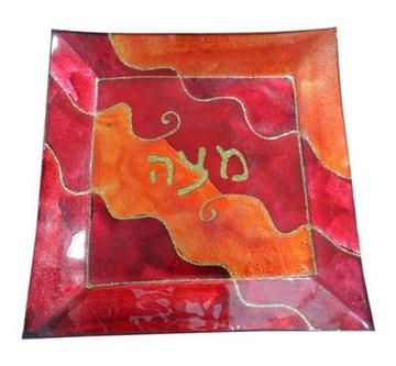תמונה של מגש מצות מזכוכית גווני אדום וכתום