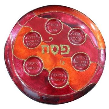 תמונה של סט צלחת פסח מגש מצות וכיסוי מצה אדום וכתום