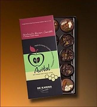 תמונה של אביטל שוקולד מריר 62% תפוח ופצפוצי דבש