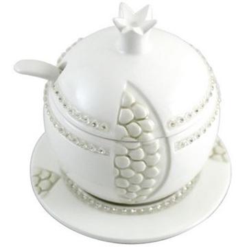 """תמונה של כלי לדבש מקרמיקה עם תחתית """"רימון"""""""