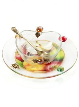 """תמונה של כלי לדבש בצורת תפוח עם צלוחית """"תפוח בדבש"""" - לילי אומנות"""