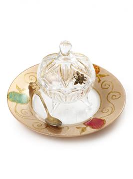 """תמונה של כלי לדבש עם מכסה וצלוחית """"תפוחים"""" - לילי אומנות"""