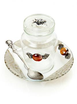 """תמונה של כלי לדבש עם מכסה וצלוחית """"שנת ברכה"""" - לילי אומנות"""