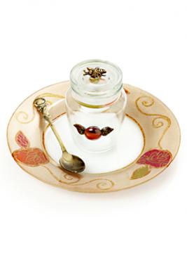 """תמונה של כלי לדבש עם מכסה וצלוחית """"תפוח עץ"""" - לילי אומנות"""