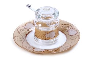 """תמונה של כלי לדבש עם מכסה וצלוחית """"רימונים"""" (לבן) - לילי אומנות"""