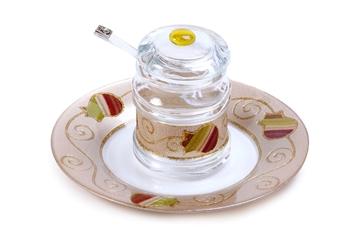 """תמונה של כלי לדבש עם מכסה וצלוחית """"רימונים"""" (צבעוני) - לילי אומנות"""