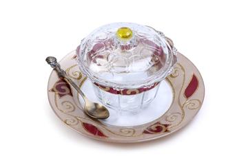 """תמונה של כלי לדבש עם מכסה מעוטר וצלוחית """"פרחים"""" (אדום) - לילי אומנות"""