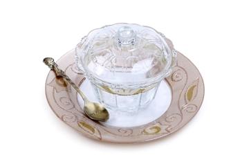 """תמונה של כלי לדבש עם מכסה מעוטר וצלוחית """"פרחים"""" (לבן) - לילי אומנות"""