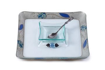 """תמונה של כלי לדבש עם מגש מרובע לתפוחים """"פרחים"""" (כחול) - לילי אומנות"""