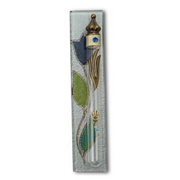 """תמונה של בית מזוזה מזכוכית מלבן """"פרח"""" (כחול) - לילי אומנות"""