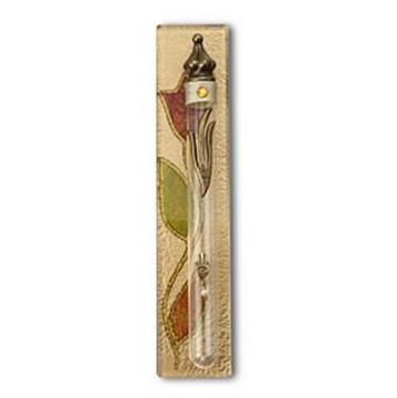 """תמונה של בית מזוזה מזכוכית מלבן """"פרח"""" (זהב) - לילי אומנות"""