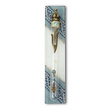"""תמונה של בית מזוזה מזכוכית מלבן """"חמסה"""" (כחול) - לילי אומנות"""