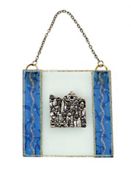 """תמונה של ברכה מזכוכית """"ירושלים העתיקה"""" (כחול) - לילי אומנות"""