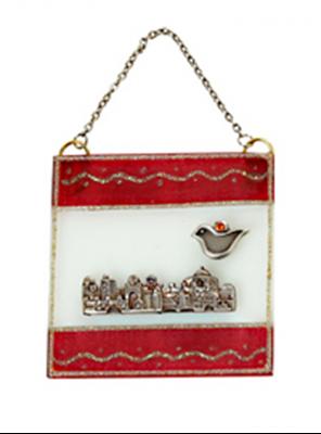 """תמונה של ברכה מזכוכית """"ירושלים העתיקה"""" (אדום) - לילי אומנות"""