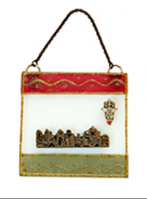 """תמונה של ברכה מזכוכית """"ירושלים העתיקה"""" (אדום וירוק) - לילי אומנות"""