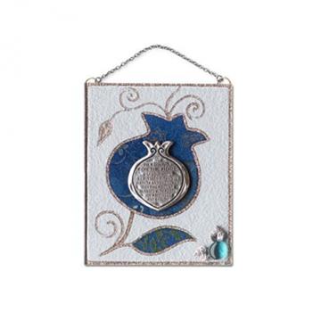 """תמונה של ברכת הבית מזכוכית מלבנית קטנה """"פרח"""" (כחול) - לילי אומנות"""