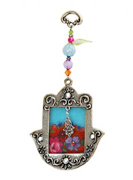"""תמונה של חמסה מברונזה עם זכוכית מקושטת """"פרחים"""" (טורקיז) - לילי אומנות"""
