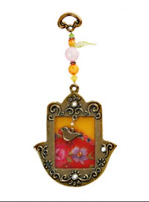 """תמונה של חמסה מברונזה עם זכוכית מקושטת """"פרחים"""" (אדום) - לילי אומנות"""