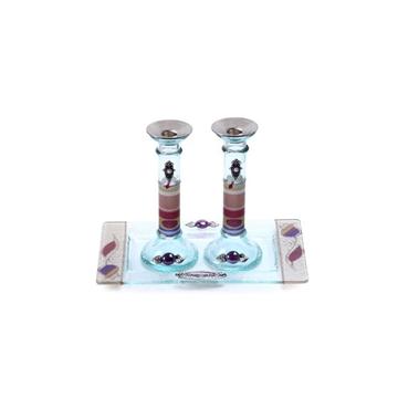תמונה של סט פמוטים לשבת מזכוכית עם מגש (צבעוני) - לילי אומנות