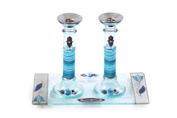תמונה של סט פמוטים לשבת מזכוכית עם מגש (תכלת) - לילי אומנות