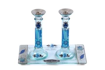 תמונה של סט פמוטים לשבת מזכוכית עם מגש (כחול) - לילי אומנות