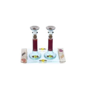 תמונה של סט פמוטים לשבת מזכוכית עם מגש (אדום) - לילי אומנות