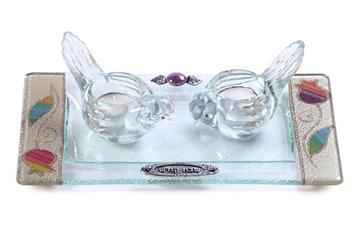 תמונה של סט פמוטים לשבת מזכוכית טי-לייט עם מגש (צבעוני) - לילי אומנות