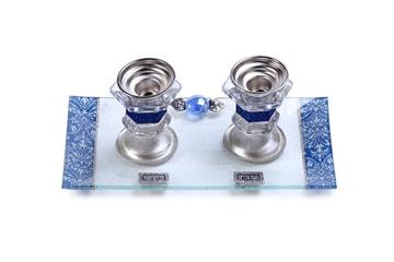 תמונה של סט פמוטי מיני עם מגש (כחול) - לילי אומנות