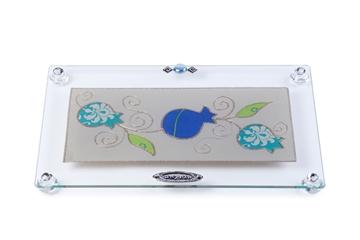 """תמונה של מגש מלבני לחלה עם רגליות """"רימונים"""" (כחול) - לילי אומנות"""