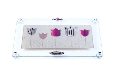 """תמונה של מגש מלבני לחלה עם רגליות """"פרחים"""" (סגול) - לילי אומנות"""