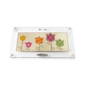 """תמונה של מגש מלבני לחלה עם רגליות """"פרחים"""" (צבעוני) - לילי אומנות"""