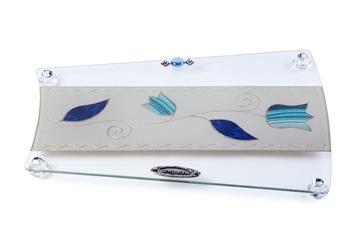 """תמונה של מגש מניפה לחלה """"פרחים"""" (כחול) - לילי אומנות"""