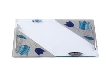 """תמונה של מגש מלבני לחלה עם ידיות ניקל """"פרחים"""" (כחול) - לילי אומנות"""