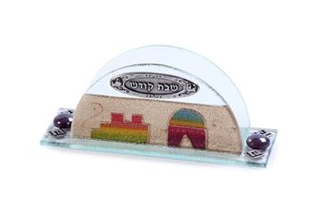 """תמונה של מחזיק מפיות מזכוכית """"ירושלים העתיקה"""" - לילי אומנות"""