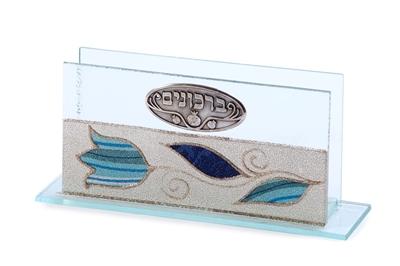 """תמונה של ברכונים מזכוכית """"פרחים"""" (כחול) - לילי אומנות"""