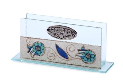 """תמונה של ברכונים מזכוכית """"רימונים"""" (כחול) - לילי אומנות"""